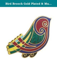 """Bird Brooch Gold Plated & Multi Colored Irish Made. Inspired by the Book of Kells, a famous text of the Four Gospels illustrating examples of exquisite Celtic knot work and various designs in vibrant colors, this bird brooch is a beautiful addition to any wardrobe! The brooch is beautifully gold plated and measures approximately 1 ¼"""" wide. This vividly colored brooch is crafted by Solvar located in Co. Dublin, Ireland. Solvar is a family owned company that has been making high quality…"""