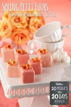 These spring petit fours are easy to decorate! Just cover with Candy Melts and top with tiny gum paste blossoms using our new Mini Cut Out Sets.