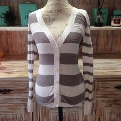 "NWOT ""Between the Lines"" cardigan Button-up grey and white striped v-neck cardigan Sweaters Cardigans"