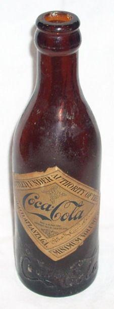 1901-1909 Amber Straight Side blue label Coca-Cola bottle Nashville US