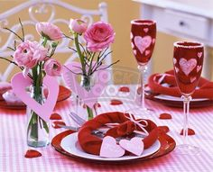 Valentine's Day Heart Decor With Cute Pink Heart Paper Ornaments And Wonderful Pink Flower Also Romantic Dining Set For The Most Enchanting Valentine's Day Heart Decorations To Express Love