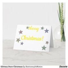 Glittery Stars Christmas Holiday Card #Jesus Christ #Christmas #holidays Holiday Cards, Christmas Cards, Christmas Holidays, Merry Christmas, Star Designs, Awesome Stuff, Jesus Christ, Place Card Holders, Seasons