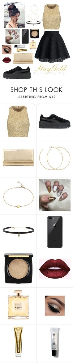 """""""Stay Gold ✨"""" by mummisushi ❤ liked on Polyvore featuring Alice + Olivia, Puma, Jimmy Choo, Allison Bryan, Blue Nile, Carbon & Hyde, Lancôme, Chanel, Michael Kors and Bobbi Brown Cosmetics"""