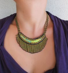 Beadwork necklace with natural silk  handpainted by LIAKURZ, $71.00