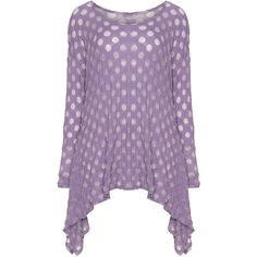 Boris Lilac Plus Size Polka dot A-line top ($59) ❤ liked on Polyvore featuring tops, lilac, plus size, crinkle top, plus size tops, dot top, purple top and relaxed fit tops