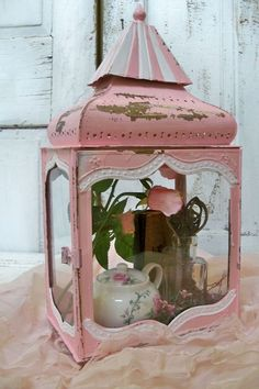 Pink shabby chic display case. http://www.anitasperodesign.com/