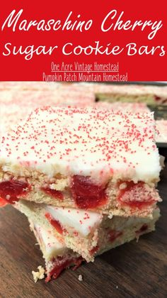 cookie desserts Delicious maraschino cherry sugar cookie bars baked into a bar mixed with marachino cherries and topped with sweet cream cheese frosting and colored sprinkles. Cherry Desserts, Cherry Recipes, Köstliche Desserts, Delicious Desserts, Dessert Recipes, Bar Recipes, Desserts With Cherries, Bar Cookie Recipes, Gourmet