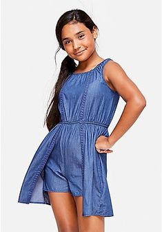Justice is your one-stop-shop for on-trend styles in tween girls clothing & accessories. Shop our Chambray Skirted Romper. Rompers For Teens, Girls Rompers, Rompers Women, Kids Outfits Girls, Girl Outfits, Girls Dresses, Swaggy Outfits, Cute Outfits, Chambray Skirt