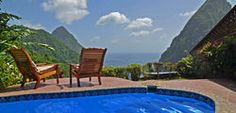Located at St. Lucia, the Ladera Resort features 9 villas and 23 suites with an 'open wall' where the west side of every unit is left open and exposed to the breathtaking views of the Piton Mountains and Caribbean sea. St Lucia Resorts, Hotels And Resorts, Luxury Hotels, Spas, Villas, Ladera Resort, St. Lucia, Caribbean Resort, Caribbean Sea