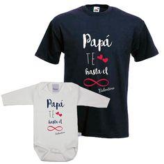 Camiseta personalizada para padres con body a juego para el bebé. Se personaliza con el nombre del bebé. Regalo para el día del padre.