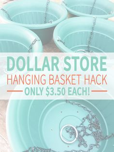 Dollar store DIY hack! Make these inexpensive hanging baskets for your backyard garden by simply switching out a few pieces with better materials. Super cheap! See the whole DIY tutorial on the Crafted Love blog.