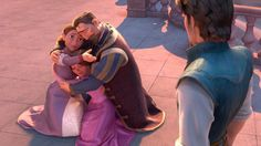 Rapunzel's Parents - Tangled. They literally just reunited with their daughter, but they immediately welcome Flynn to the family in the very same hug. We guess they fell for Flynn as immediately as we did.