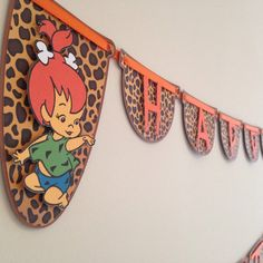Pebbles or Bam Bam Birthday Banner   Flintstone Birthday Party.