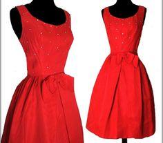 Vintage 1950s Dress  . Red . Rhinestone Party by vintagediva60, $155.00 #VExplosion #Vintage #Fashion #Jewelry #Etsyretwt