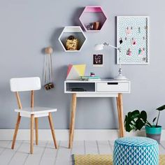 Love white and wood! Such a perfect pair. This desk and chair are Devine Adairs Kids Hunter Desk - White. Perfect for your little ones study nook. Available in-store Selected by Roxy Creations Furniture Layout, Kids Furniture, Deco Furniture, Bathroom Furniture, Furniture Stores, Kmart Decor, Adairs Kids, Study Nook, Study Space