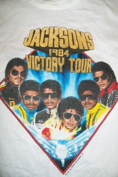 Vintage Michael Jackson and The Jacksons 1984 Victory Tour Official T-Shirt.