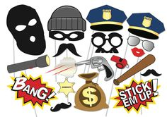 Cops and robbers Party Photo booth Props Set - 20 Piece PRINTABLE - Police, Robbers, party decoration, game Fiesta Photo Booth, Photo Booth Props, Props Photobooth, Cop Party, Party Props, Party Ideas, Lego Police, Police Hat, Police Wife