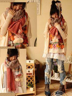 vintage style extra long cashmere shawl/scarf