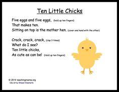 5 Baby Chick Songs and Chants Ten Little Chicks Kindergarten Songs, Preschool Music, Preschool Farm, Preschool Ideas, Spring Songs For Preschool, Spring Songs For Kids, Preschool Science, Preschool Classroom, Classroom Activities