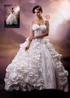 A-ラインスイートハートロングフロアプリーツウェディングドレス