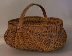 Appalachian oak splint buttocks gathering basket c1880