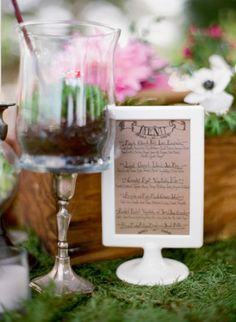 ikea double sided frames as table menus. .99 cents each