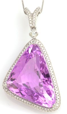 Kunzite is known as the evening stone because it fades in prolonged exposure to sunlight. 23.74 ct Kunzite & 0.31 ctw Diamond 18K White Gold Pendant Length 18 in