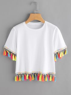 SheIn offers Contrast Tassel Trim Tshirt & more to fit your fashionable needs. Girls Fashion Clothes, Teen Fashion Outfits, Diy Fashion, Trendy Outfits, Ideias Fashion, Cool Outfits, Fashion Dresses, Diy Vetement, T Shirt Diy