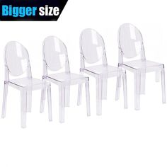 Buy Set of 4 Large Size – Clear Crystal Mid Century Modern Contemporary Ghost Side Chair Dining Room Chair Victoria Accent Seat Living No Arms Wheels Armless With Back Transparent Guest Office Work Acrylic Dining Chairs, Plastic Dining Chairs, Modern Dining Chairs, Living Room Kitchen, Dining Chair Set, Dining Room Chairs, Side Chairs, Lounge Chairs, Dining Area