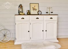 French provincial country inspired buffet. Painted in a warm white, and with a wax finish. Dark timber tabletop. www.rawrevivals.com.au