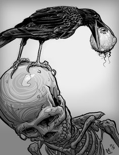 New images on imgfave tattoo ideas в 2019 г. art, skull art и raven art. Arte Horror, Horror Art, Tattoo Caveira, Arte Obscura, Raven Art, Desenho Tattoo, Art Graphique, Skull And Bones, Skull Art