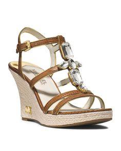f3942ea3945e MICHAEL Michael Kors Jayden Jeweled Wedge Sandal. love Michael Kors Bags  Outlet