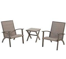 Grand Patio 3 Piece Wicker Conversation Set Aluminium Outdoor Chat Weather Resistant Furniture Grey Patiofurniture