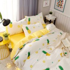 Funky Green White and Yellow Pineapple Print Tropical Country Chic Vogue Style Twin, Full, Queen Size Sets Twin Bedroom Sets, Girls Bedroom, Bedroom Decor, Bedroom Ideas, Childrens Bedroom, Bedroom Bed, Bedroom Furniture, Furniture Sets, Master Bedroom