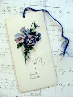 Antique  Pansies Stunning Lithograph Tally Card by reginasstudio