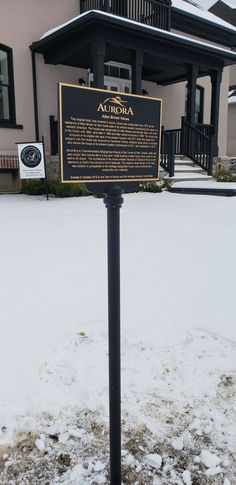 Custom raised graphics bronze plaque installed on metal post for Town of Aurora. Brown House, Aurora, Toronto, Bronze, Graphics, Signs, Metal, Outdoor Decor, Home Decor