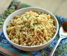 Tips for cooking couscous - 1:1 ratio cous cous to boiling water/broth, let sit, fluff with fork!