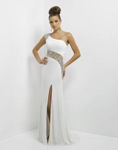 Beaded illusion rocks! Sexy jewels rock this one-shoulder as it flows into a stunning sheer back. Another band of illusion diagonally drapes your figure creating a brilliant dance column. Blush Prom