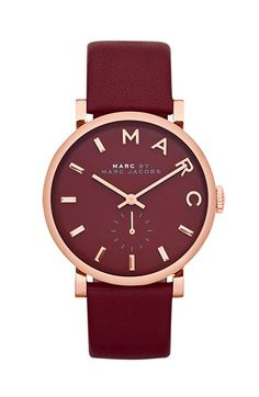 MARC BY MARC JACOBS 'Baker' Leather Strap Watch, 37mm | Nordstrom #burgundy #plum #jewelery