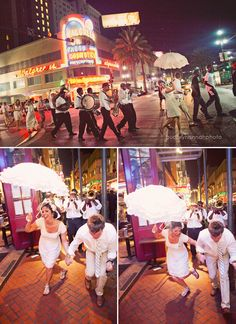 """The wedding party formed a """"second line"""" parade (a New Orleans tradition) and danced across Canal street and straight down Burbon street through the heart of the French Quarter. Apparently it is custom for bystanders to join in the second line parade and pretty soon you have a massive mob of people dancing."""