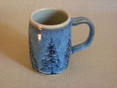"Potterybydave x LG Tea Mug or Beer Stein in Blue w ""Pine Tree"" Design   eBay"