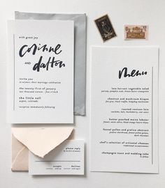 minimal invitation suite with gorgeous hand-lettering