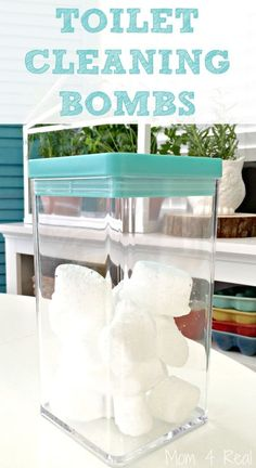 DIY Toilet Cleaning Bombs - these tablets are easy to make and will clean your toilet with no effort or scrubbing! via @Mom4Real