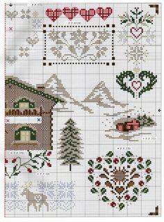 Free cross stitch pattern for Alpine sampler Cross Stitch House, Xmas Cross Stitch, Just Cross Stitch, Cross Stitch Heart, Cross Stitch Alphabet, Cross Stitch Samplers, Cross Stitching, Cross Stitch Embroidery, Cross Stitch Designs