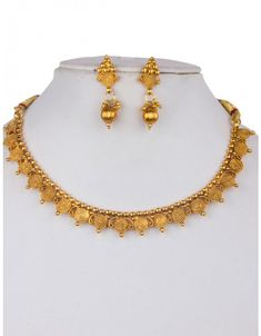 Shop Golden Alloy Kundan Necklace With Earrings 156258 online from huge collection of indian ethnic jewellery at m. Jewelry Design Earrings, Gold Jewellery Design, Necklace Designs, Bridal Jewellery, Handmade Jewellery, Marriage Jewellery, Gold Jewelry, Jewellery Boxes, India Jewelry