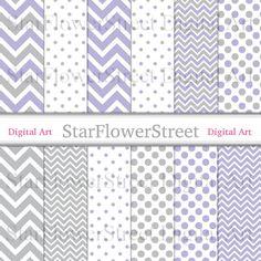chevron digital paper scrapbook background polka dot printable lavender lilac soft violet pale grey light gray StarFlowerStreetDA on Etsy: (3.50 USD)