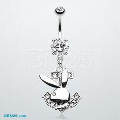 Playboy Bunny Anchor Belly Button Ring