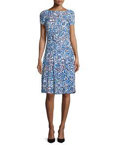 Oscar de la Renta Abstract Watercolor-Shaped Print Dress, Marine Blue | Neiman Marcus