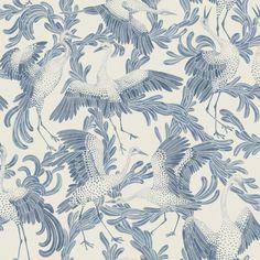 Dancing Cranes Blue wallpaper by Eco Wallpaper