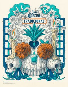 Illustration for Tequila Jose Cuervo Tradicional special edition. Graphic Design Posters, Graphic Design Illustration, Illustration Art, Tequila Jose Cuervo, Crea Design, Beer Label Design, Kali Ma, Mexico Art, Marken Logo
